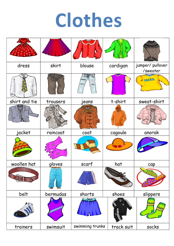 Clothes Vocabulary Clothes Clothes Crossword