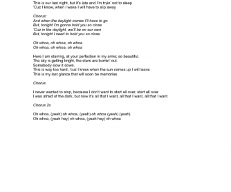 Song Worksheet: Daylight by Maroon 5