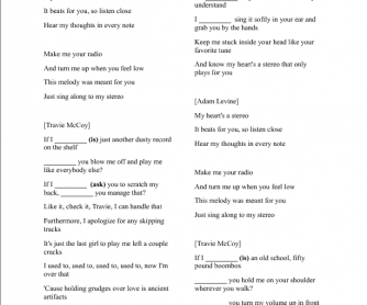 Song Worksheet: Stereo Hearts by Travie McCoy feat Adam Levine (Second Conditional)
