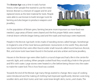 Reading Comprehension - The Bronze Age
