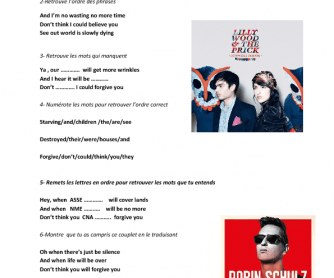 Song Worksheet: Prayer in C by Lily Wood and the Pricks