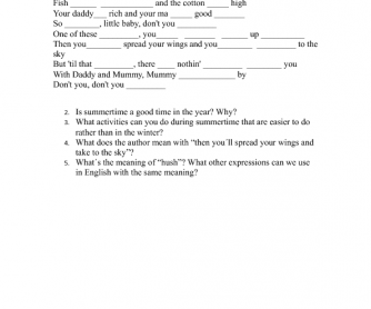 Song Worksheet: Summertime (Verbs)