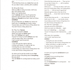 Song Worksheet: Mr. Know It All by Kelly Clarkson