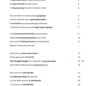 Irregular Verbs Poem