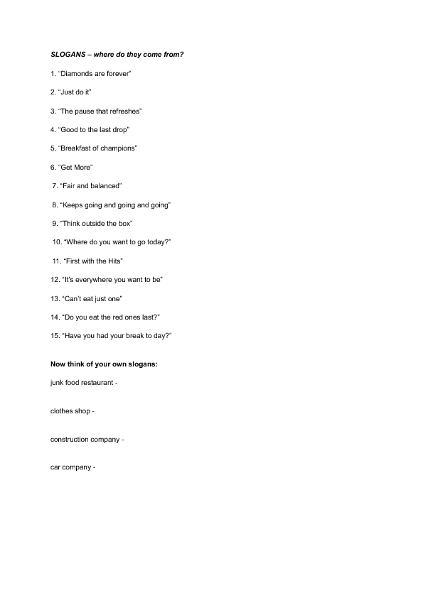 Printables Advertising Slogans Worksheet 38 free advertising and brands worksheets slogans guess where they come from