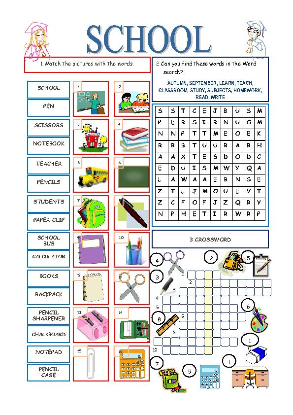 Modular Classroom Crossword ~ School