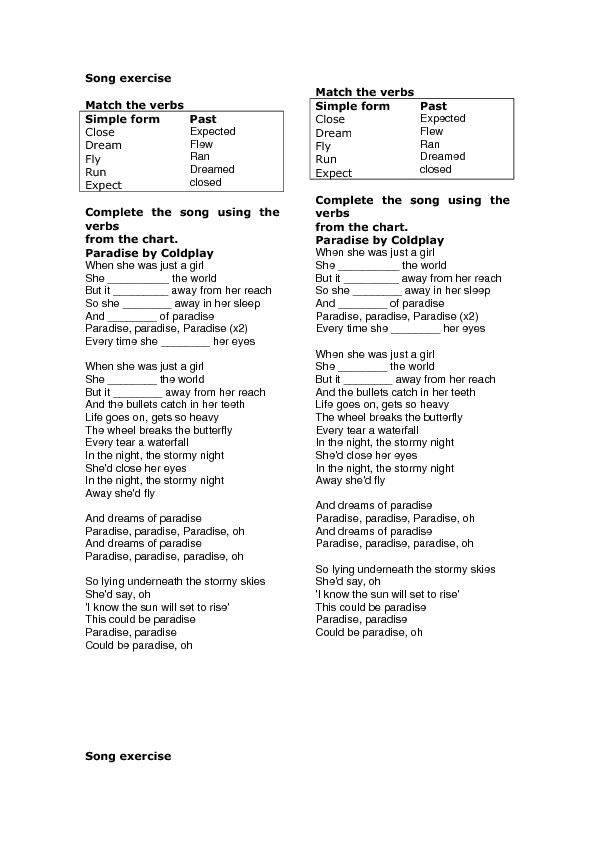 song worksheet  paradise by coldplay  simple past