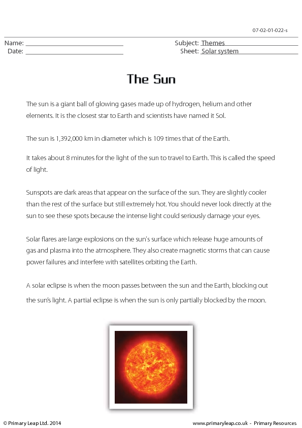 the sun reading comprehension