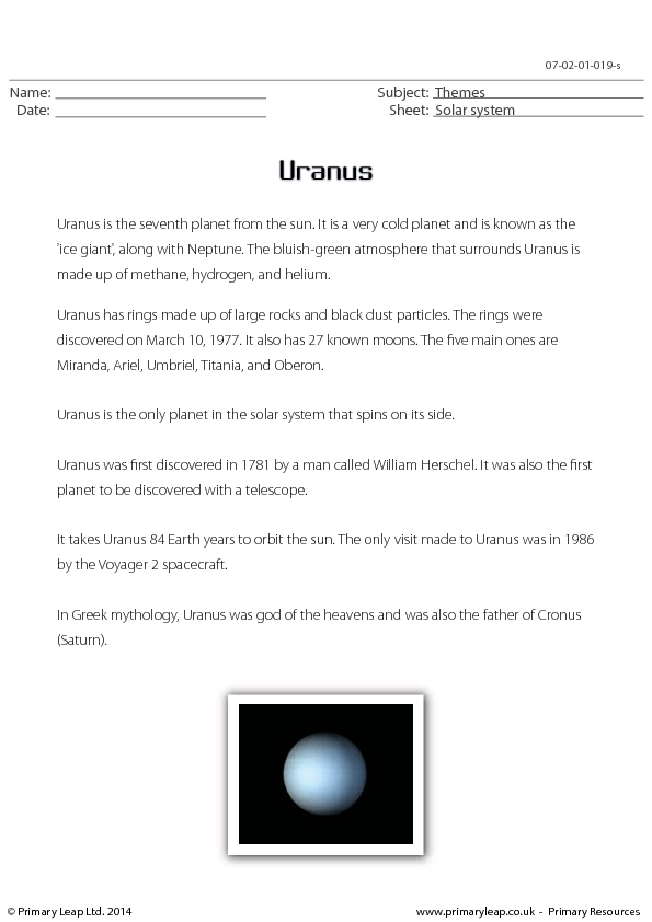 uranus reading comprehension. Black Bedroom Furniture Sets. Home Design Ideas