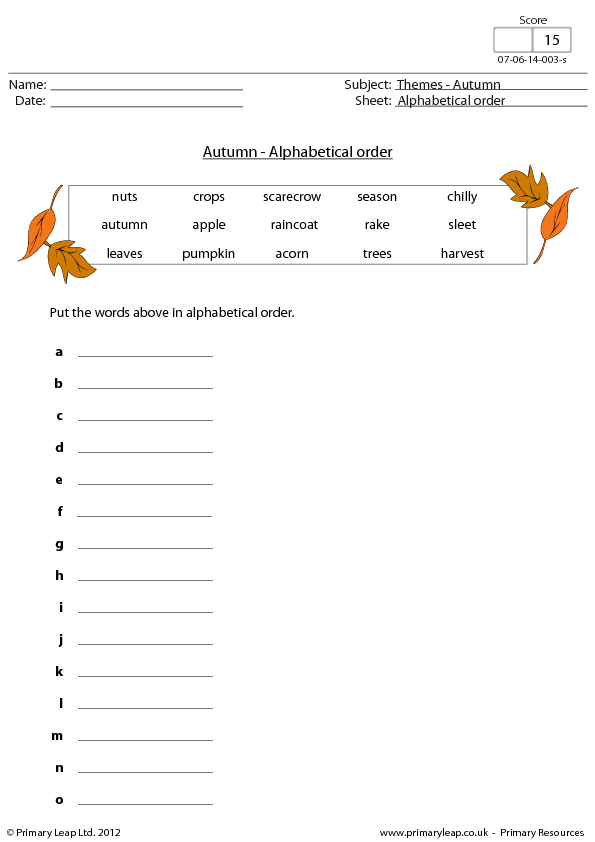 Order AutumnFall Theme – Alphabetical Order Worksheet