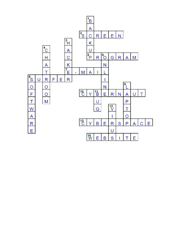 Computer and Internet Crossword Puzzle Answers