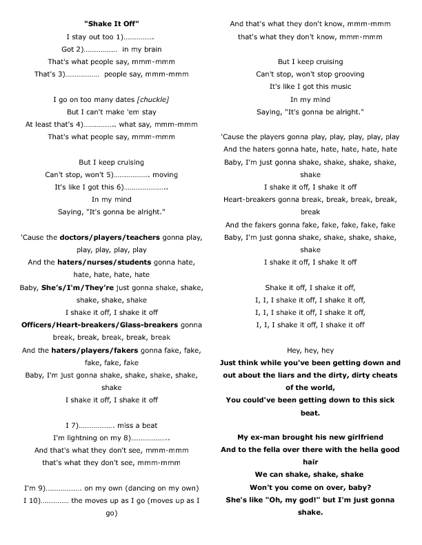 picture regarding Were Moving Up to Kindergarten Printable Lyrics identified as Track Worksheet: Shake It Off through Taylor Rapid