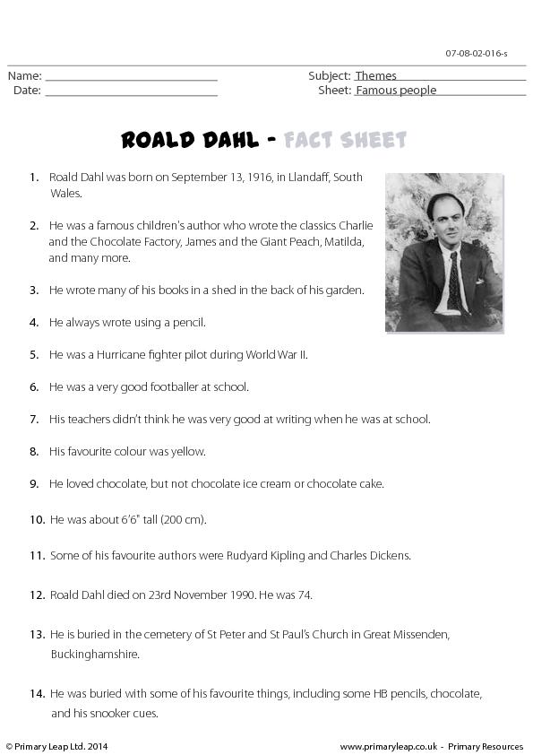 Roald Dahl Reading Omprehension
