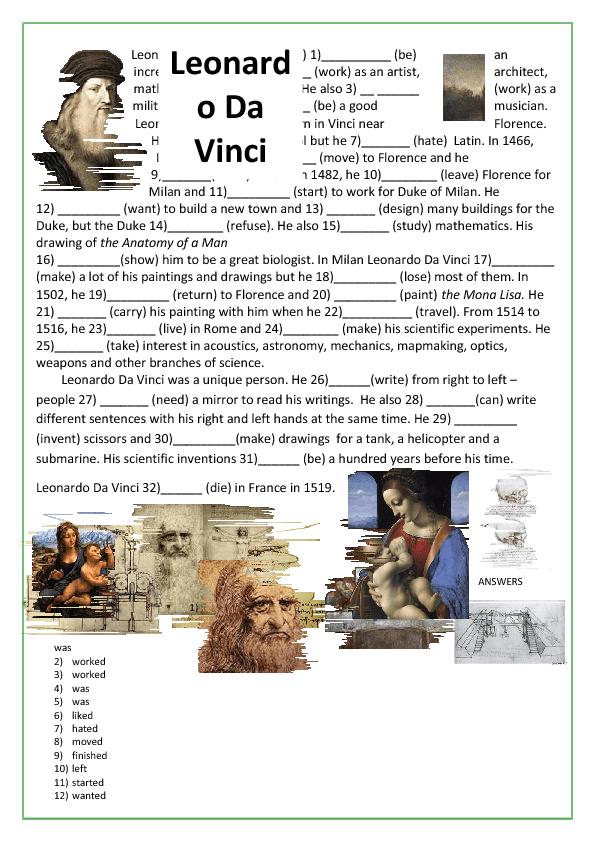Leonardo Da Vinci Worksheet - Davezan