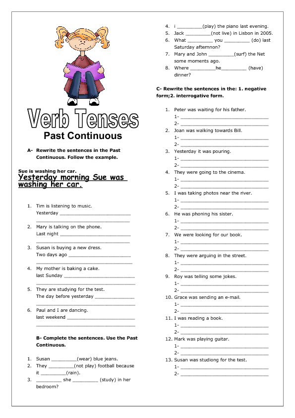 Worksheets Continuous Tense Worksheet verb tenses past continuous ii worksheet