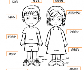 parts of the body coloring pages - body parts linking activity