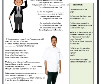 Song Worksheet: An English Man in New York by Sting