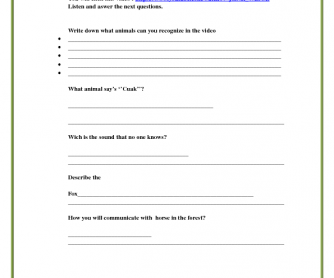 Song Worksheet: What Does the Fox Say?