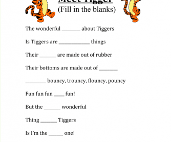 Song Worksheet: Meet Tigger