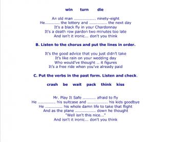 Song Worksheet: Ironic