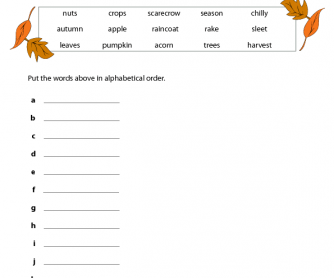 Alphabetical Order - Autumn/Fall Theme