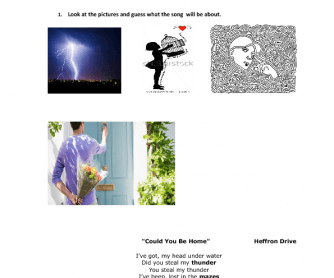 Song Worksheet: Could You Be Home by Heffron Drive