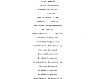 Song Worksheet: Diamonds by Rihanna