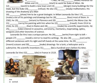 Grammar Worksheet: Leonardo da Vinci