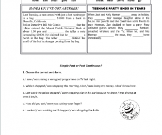 Simple Past and Past Continuous Worksheet