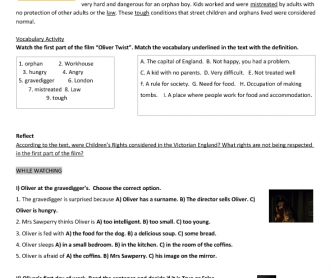 Movie Worksheet: Oliver Twist (2005)