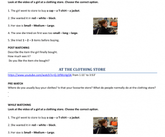 Movie Worksheet: At the Clothing Store