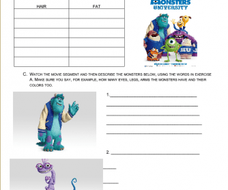 Movie Worksheet: Have Got / Has Got, Parts of the Body