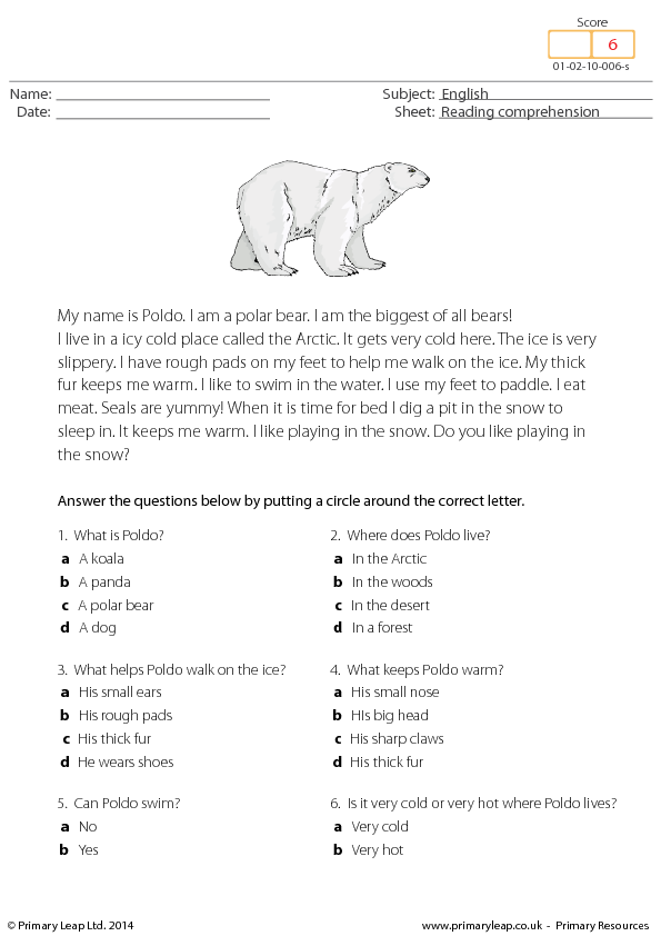math worksheet : poldo the polar bear  reading comprehension : Reading Comprehension Worksheets Multiple Choice