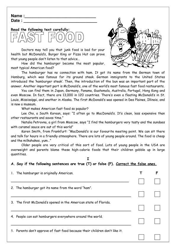 Free Worksheets inference worksheets 3rd grade : Fast Food Reading Worksheet II