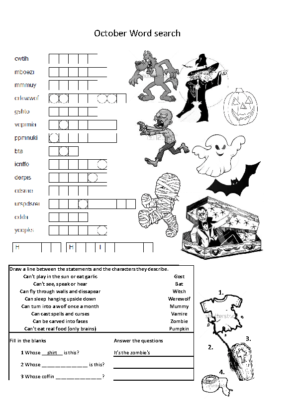 Halloween Double Sided Worksheet