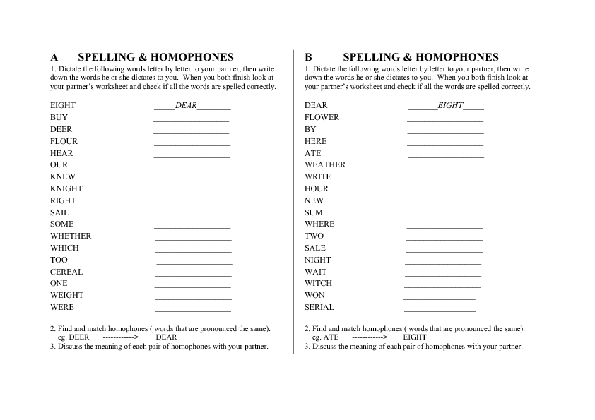 76 FREE Homophones Worksheets – Homophones Worksheet