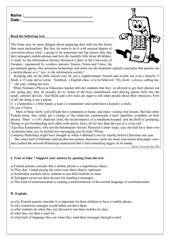 Printables Reading Comprehension Worksheets For Adults mobile phones reading comprehension worksheet