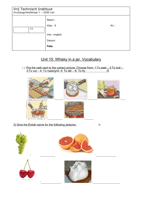 Vocabulary Test Food And Drinks