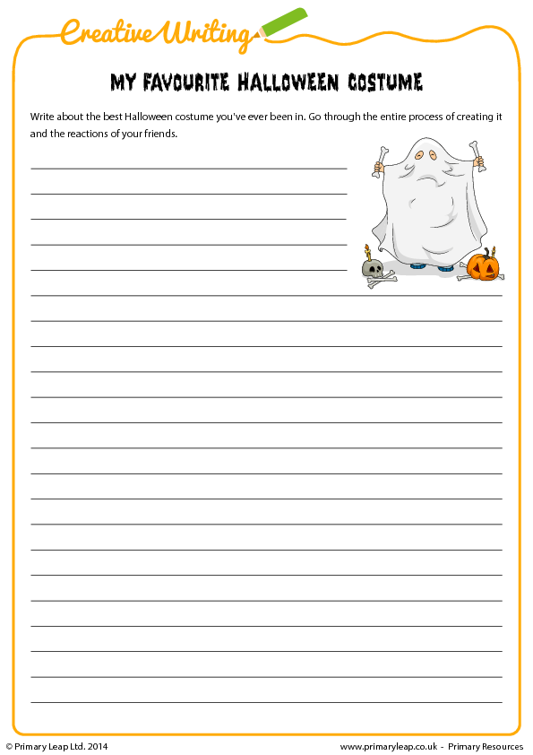 Favourite Halloween Costume Writing Exercise – High School Writing Worksheets