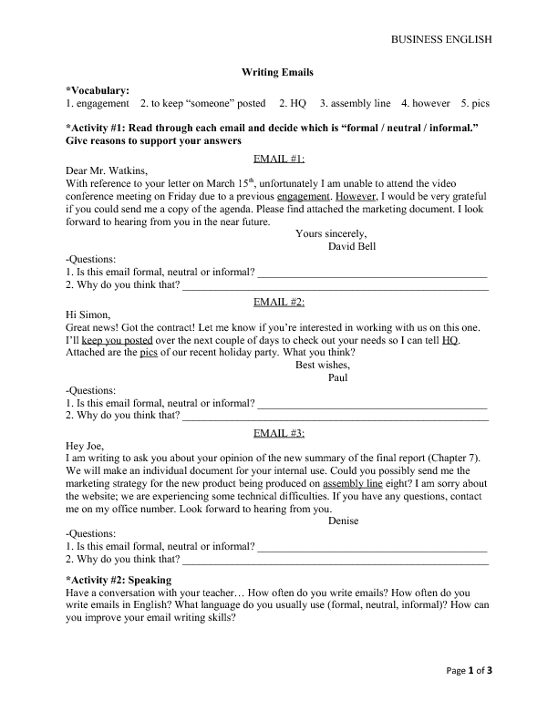 Free Email English Worksheets