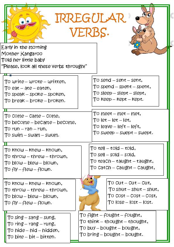 Printable Worksheets past tense worksheets ks2 : Verbs homework ks2