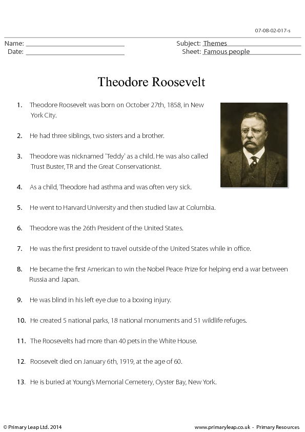 biography of theodore roosevelt essay Biographical essay to eleanor butler roosevelt section of an overview relating to women photojournalists (prints and photographs reading room, library of congress.