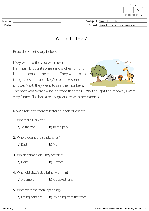 Comprehension - A Trip to the Zoo