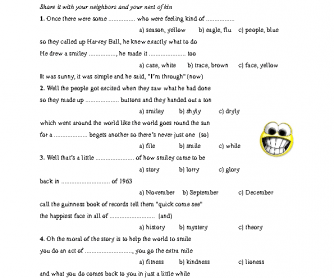 Song Worksheet: Smiley Face Song
