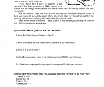 Jobs Reading Comprehension Worksheet