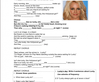 Song Worksheet: Lucky by Britney Spears (Present Simple)
