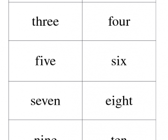 Numbers and Number Words Flash Card Match