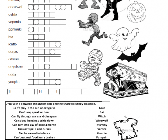 Halloween Double Sided Worksheet Elementary Grade 4/5