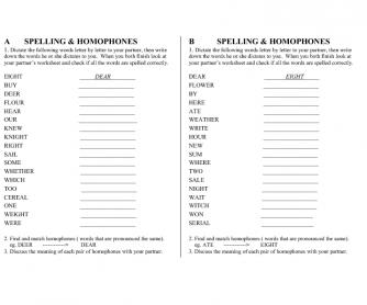 Spelling and Homophones