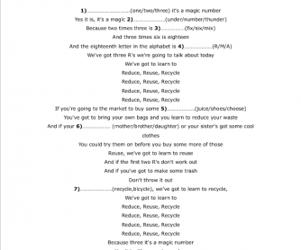 Song Worksheet: Reduce, Reuse and Recycle